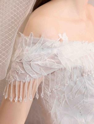 Tüll Brautkleider Prinzessin Brautkleid Schulterfrei Spitze Applique Bodenlangen Ballkleid Brautkleid_7