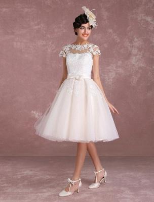 Vintage Wedding Dresses Short Lace Applique Bridal Gown Illusion Bow Sash Bridal Dress Exclusive_5