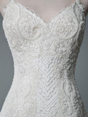 Einfache Brautkleider Spitze V-Ausschnitt Ärmellose Spitze Meerjungfrau Brautkleider mit Zug With_7