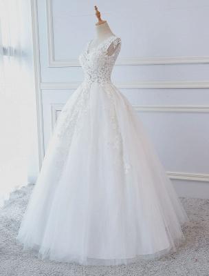 Robes de mariée princesse robes de bal dentelle col en V sans manches longueur de plancher robes de mariée_2