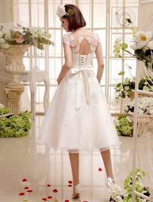 Kurze Brautkleider Elfenbein Spitze Applique Vintage Brautkleid Illusion Schatz Offener Rücken Tee Länge Brautkleider Exklusiv_4