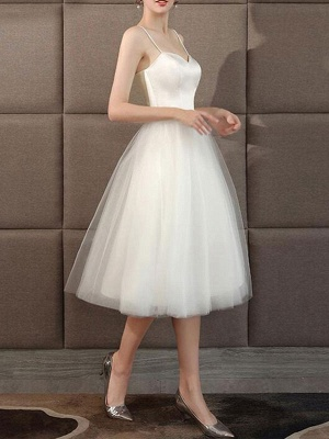 Wedding Dresses Sweetheart Neck Sleeveless A Line Tea Length Short Bridal Dress_3