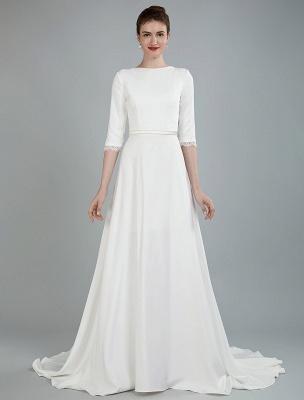 Einfache Hochzeitskleid Perlen Schärpe Rückenfrei Bateau-Ausschnitt Halbarm A-Linie Brautkleider Mit Hofzug Exklusiv_2