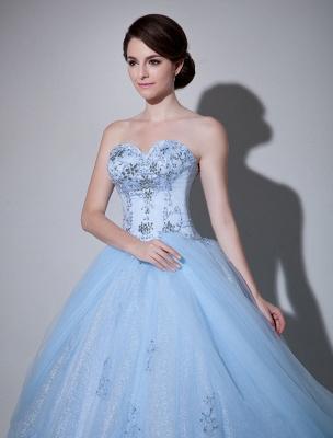 Robe de mariée bleue robe de bal en dentelle longueur au sol chérie sans bretelles perles princesse robe de mariée exclusive_5