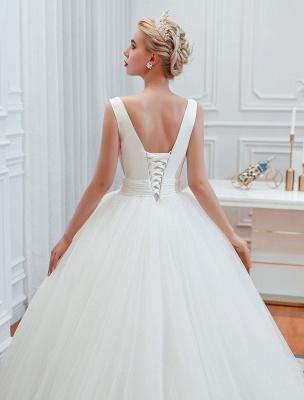 Princess Wedding Dress 2021 Ball Gown V Neck Sleeveless Natural Waist Court Train Bridal Gowns_5