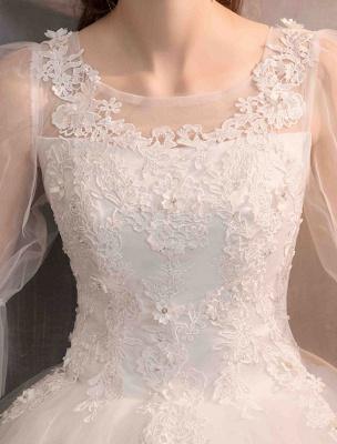 Tüll Brautkleid Elfenbein Spitze Applique Blumendetail Halbarm Prinzessin Brautkleid_8