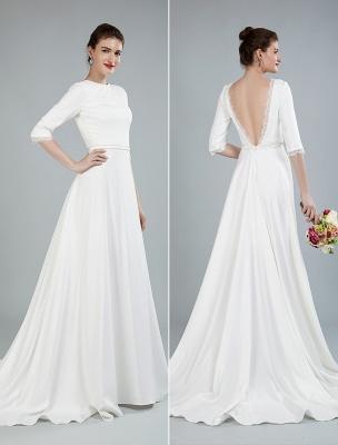 Einfache Hochzeitskleid Perlen Schärpe Rückenfrei Bateau-Ausschnitt Halbarm A-Linie Brautkleider Mit Hofzug Exklusiv_12