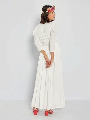 Robe de mariée simple ivoire A-ligne col en V manches longues plissée au sol en mousseline de soie robes de mariée_2