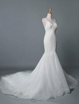 Einfache Brautkleider Spitze V-Ausschnitt Ärmellose Spitze Meerjungfrau Brautkleider mit Zug With_2