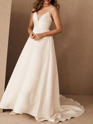 Simple Wedding Dress Satin V Neck Sleeveless Pockets A Line Bridal Gowns_2