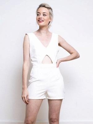 Weißes einfaches Hochzeitskleid A-Linie V-Ausschnitt Halbarm Rückenfrei Tüll Satin Stoff Lange Brautkleider_5