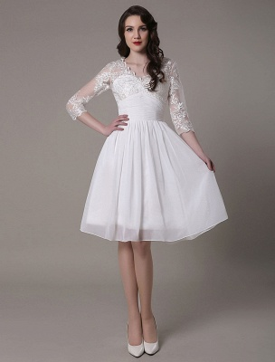 Simple Wedding Dressses Chiffon V Neck Lace A Linepleated Bridal Dress Exclusive_3