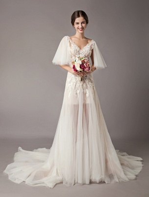 Boho Wedding Dresses Tulle Lace V Neck Butterfly Sleeve Backless Summer Beach Bridal Gowns_1