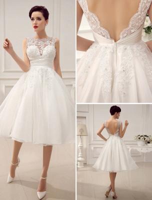 Kurze Brautkleider Vintage 1950er Brautkleid rückenfrei Spitze Perlen Plissee Pailletten Illusion Hochzeitsempfang Kleid mit exklusiven_1