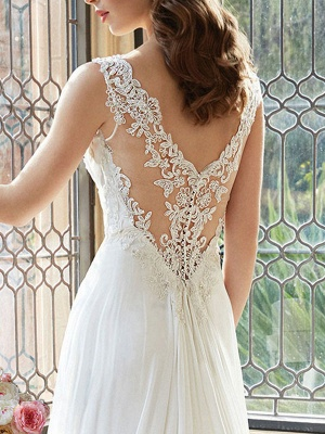 Simple Wedding Dress 2021 A Line V Neck Sleeveless Floor Length Lace Bridal Gowns_3