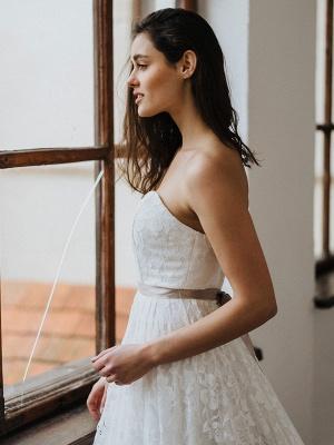 Einfache Brautkleider Brautkleider aus Spitze Trägerlose Brautkleider in A-Linie_5