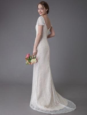 Robe de mariée en dentelle crème vanille chérie robe de mariée à manches courtes robe de mariée sirène avec train exclusif_8