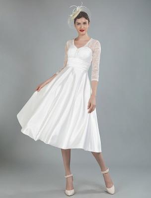 Kurze Brautkleider V-Ausschnitt 3/4 Ärmel A-Linie Tee-Länge Traditionelle Brautkleider_9