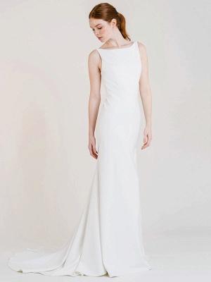Vestido de novia blanco simple con tren Bateau Cuello sin mangas Sin espalda Tela de satén Sirena Vestidos de novia_1