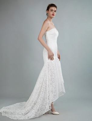 Einfache Brautkleider trägerlose ärmellose Spitze Meerjungfrau Brautkleider mit Zug_7