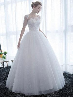 Elegante Brautkleider Weiß Schulterfrei Halbarm Weicher Tüll Lace Up Bodenlangen Brautkleider_2