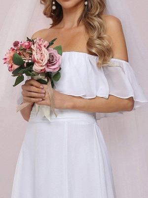 Weißes einfaches Brautkleid Chiffon Bateau-Ausschnitt Ärmellos Split Front A-Linie Lange Brautkleider_7