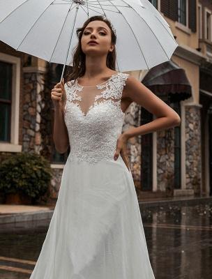 Weißes Brautkleid Illusion Ausschnitt Ärmellose Applikation Chiffon Bodenlangen Brautkleider Zug Kleid_6
