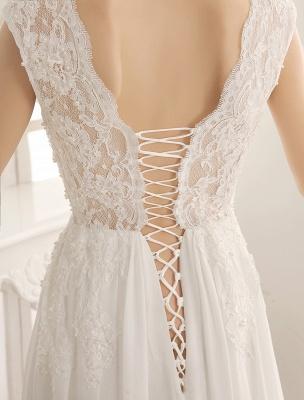 Wedding Dresses Chiffon V Neck Beach Bridal Dress Pearls Beaded Lace Ivory Bridal Gown_7