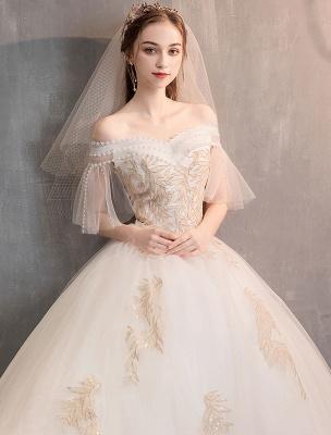 Prinzessin Brautkleid Elfenbein schulterfreies bodenlanges Brautkleid_6