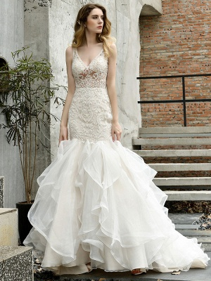 Wedding Bridal Gowns Mermaid Sleeveless V Neck Lace Bridal Gowns With Train_6