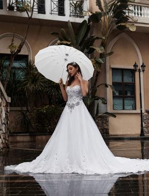 Customize Wedding Dress A-Line Sweetheart Neck Sleeveless Natural Waist With Train Bridal Dresses_2