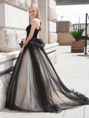 Schwarzes Festzug Partykleid Frauen Trägerlose Tüll Luxus Prinzessin Kleider_3