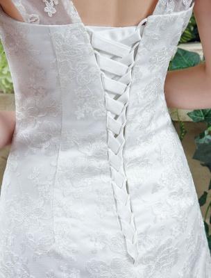 Weißes Brautkleid Queen Anne Mermaid Backless Lace Brautkleid_6