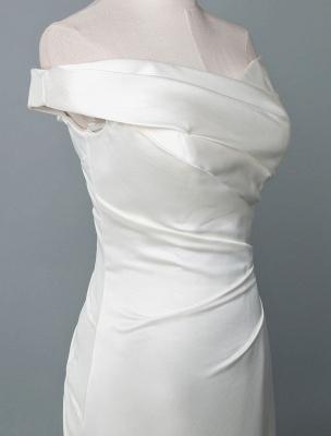 Vintage Brautkleid Meerjungfrau Schulterfrei Ärmellos Plissee Satin Stoff Mit Zug Traditionelle Kleider Für Die Braut_4