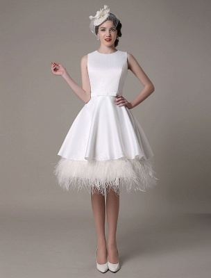 A-Line Wedding Dress Knee-Length Feather Tiered Satin Bow Bridal Dress Exclusive_1