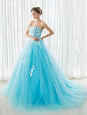 Blaues Hochzeitskleid Spitze Applique Tüll Hof-Schleppe Trägerlos Schatz Lace-Up A-Linie Brautkleid_6