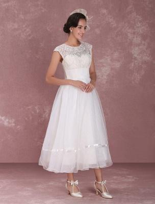 Mini robe de mariée élégante en filet à col rond_5