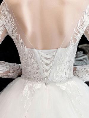 Robe de mariée blanche robe de bal train cathédrale col bijou manches 3/4 taille naturelle appliques en satin tissu robes de mariée_7