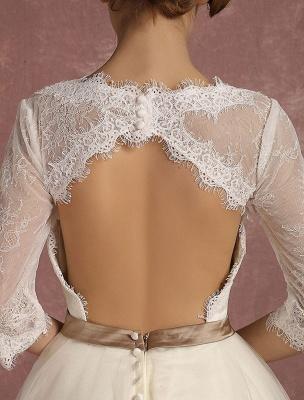 Vintage Brautkleid Kurze Spitze Tüll Brautkleid Halbarm V-Ausschnitt Backless A-Linie Blume Schärpe Tee Länge Brautkleid Exklusiv_10