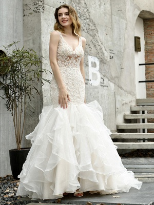 Wedding Bridal Gowns Mermaid Sleeveless V Neck Lace Bridal Gowns With Train_3