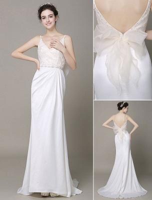 Satin Sheath Wedding Dress Plunging Neckline Bow Back Belt Lace Beading Evening Dress Exclusive_6