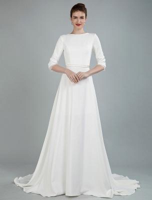 Einfache Hochzeitskleid Perlen Schärpe Rückenfrei Bateau-Ausschnitt Halbarm A-Linie Brautkleider Mit Hofzug Exklusiv_3