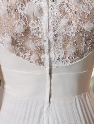 Beach Wedding Dresses V Neck Chiffon Summer Bridal Dress Chiffon Flowers Beading Pleated Floor Length Wedding Gown Exclusive_8