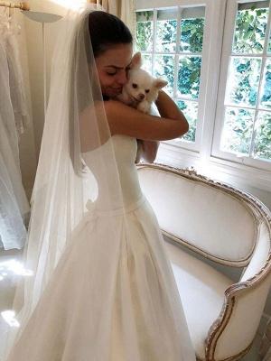 Vintage Brautkleider 2021 Satin Strapless A-Linie bodenlangen klassischen Brautkleid mit Zug_4
