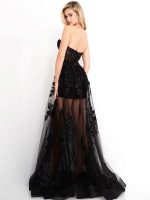 Vestidos de novia góticos negros Una línea Hasta el suelo Cuello sin tirantes Sin mangas Vestido de novia de encaje_3