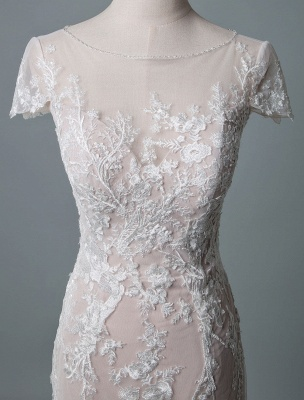 Simple Wedding Dress Mermaid Jewel Neck Short Sleeves Floor Length Customized Lace Bridal Gowns With Train_4