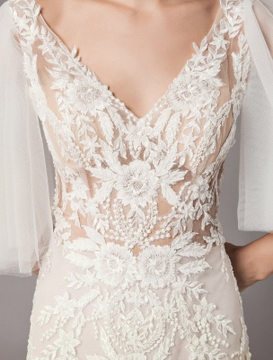 Boho Wedding Dresses Tulle Lace V Neck Butterfly Sleeve Backless Summer Beach Bridal Gowns_10