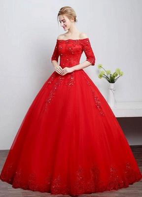 Brautkleid aus Spitze schulterfrei Elfenbein A-Linie Lace Up Half Sleeve Pailletten bodenlangen Brautkleid_5