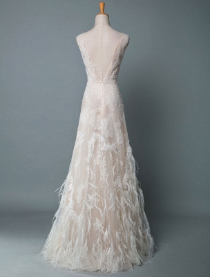 Simple Wedding Dress Lace A Line V Neck Sleeveless Beaded Floor Length Feather Bridal Gowns_3