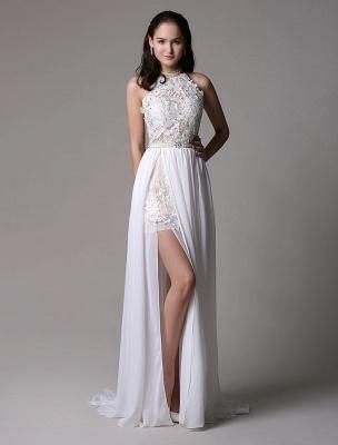 White Prom Dresses 2021 Long Ivory Halter Backless Evening Dress Lace Applique Beading Chiffon Split Party Dress_2